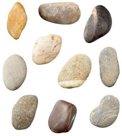 stones and on white background. each one is in full camera resolution photo