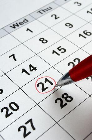 close-up van de kalender