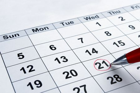 appointment book: close up of calendar