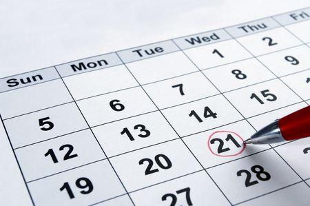 calendrier jour: gros plan du calendrier