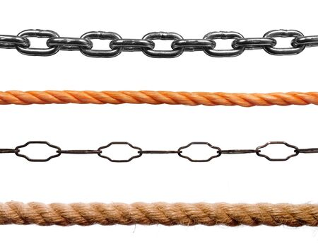 collection of various ropes and chains on white background. each one is in cameras full resolution photo