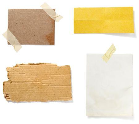 Sammlung von alten Hinweis Papier Papier auf weißen Hintergrund. jedes in vollständigen Kameras Entschließung ist Standard-Bild