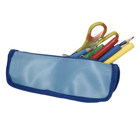 pencil case: close up of school supplies in pencil case  on white background with clipping path