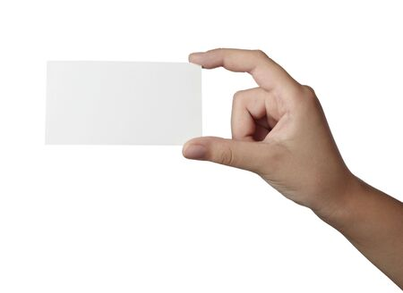 close up of hand holding blank note paper, on white background with clipping path photo