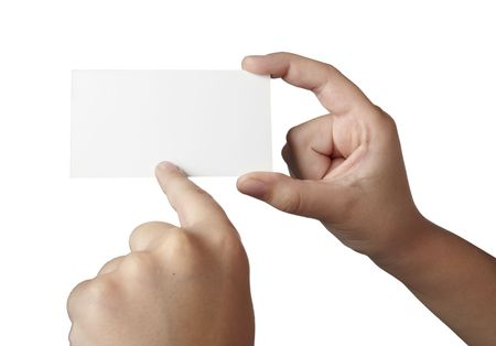hand holding paper: close up of hand holding blank note paper, on white background with clipping path
