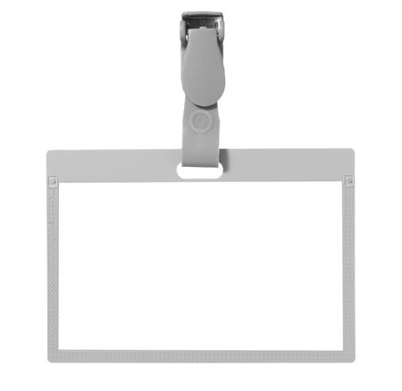 authorisation: close up of name tag identity on white background with clipping path