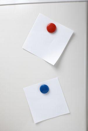 annotation: close up of postit reminder on white background refigerator