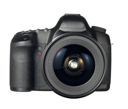 close up of digital dslr camera  on white background  photo