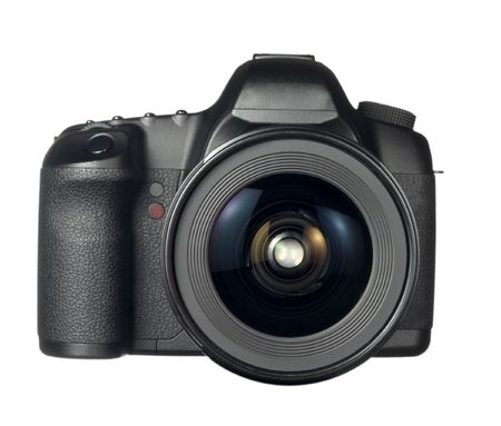 digital camera: close up of digital dslr camera  on white background