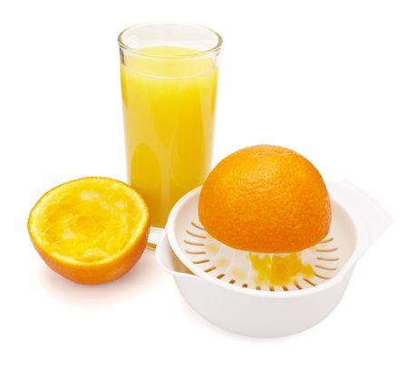 close up of fresh orange juice preparation, on white background Stock Photo - 6197807