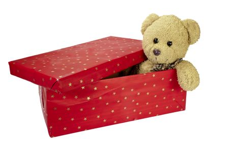 close up of red present box and teddy bear  on white background  photo