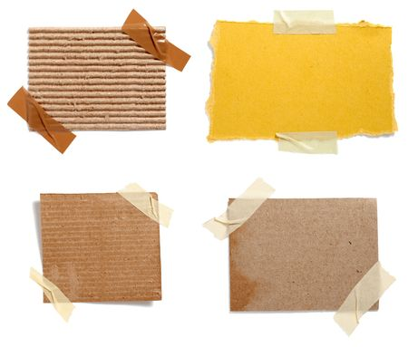letter memo: collection of old note paper paper on white background. each one is in full cameras resolution