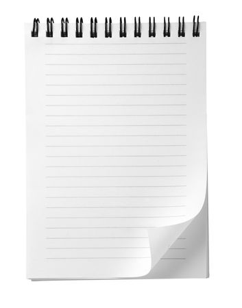 stationary border: close up of note paper with curl on white background