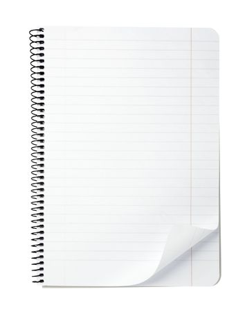 scratchpad: close up of note paper with curl on white background