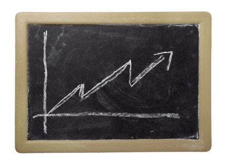 close up of stock market chart on a chalkboard isolated on white background  photo