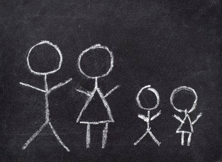 drawing of family on chalkboard  photo