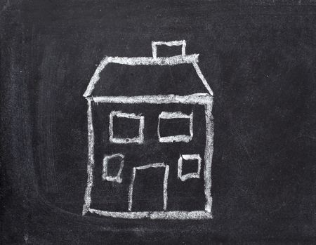 drawing of house  on chalkboard Stock Photo - 6259050