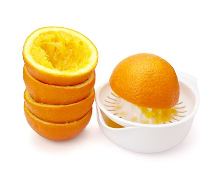 close up of fresh orange juice preparation, on white background   photo