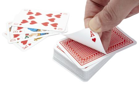 close up of  playing cards poker game on white background