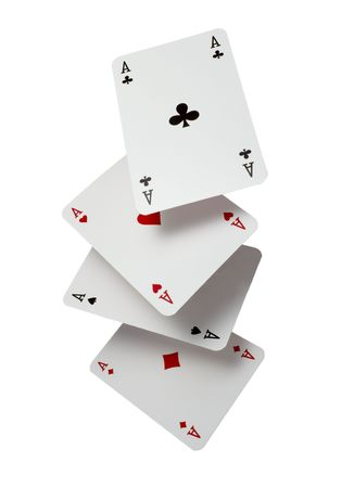 ace hearts: close up of  falling playing cards poker game on white background  Stock Photo