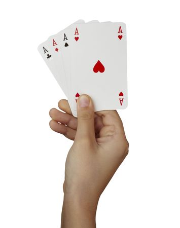 luckiness: close up of  playing cards poker game on white background