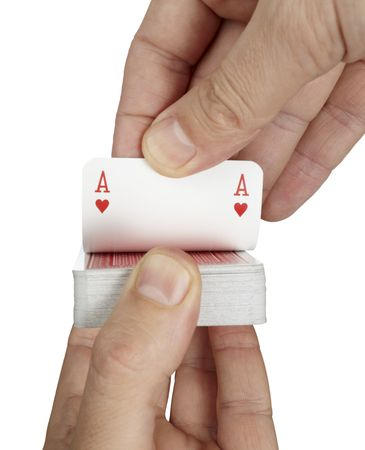 close up of  playing cards poker game on white background with  photo