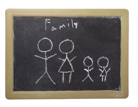 drawing of family on chalkboard on white background with clipping path photo