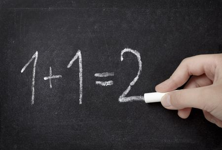 addition symbol: closeup of chalkboard and simple math addition