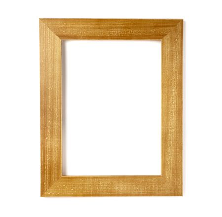 burned out: wooden frame for painting or picture on white background