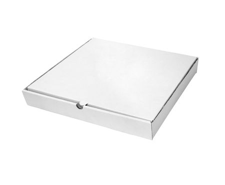 close up of carton  box  for pizza on white background with clipping path  Stock Photo - 6353259