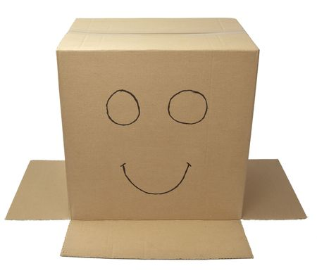close up of carton  box  post package on white background with clipping path  photo