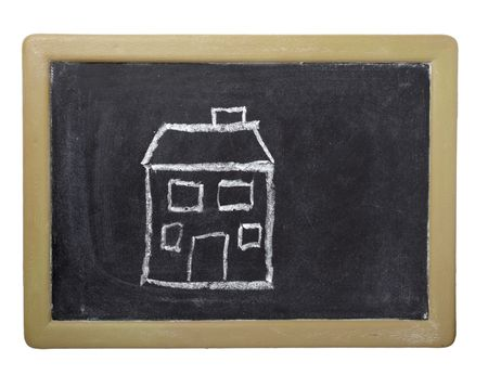 drawing of house  on chalkboard on white background with clipping path photo