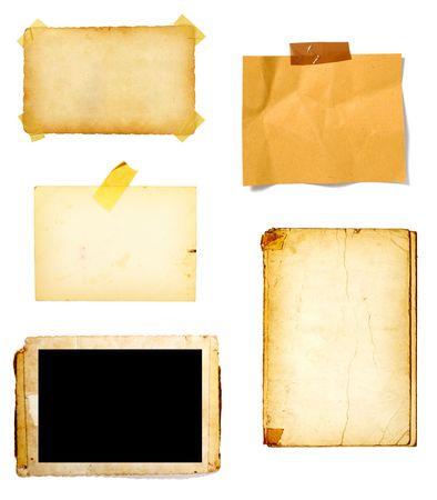 stripping: colecci�n de viejos nota de papel, sobre fondo blanco. cada uno de ellos es en la resoluci�n completa de c�maras  Foto de archivo