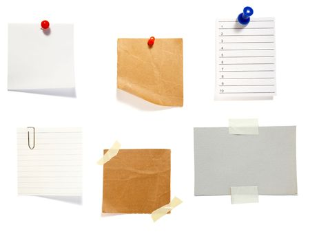 paper pin: collection of old note paper  on white background. each one is in full cameras resolution