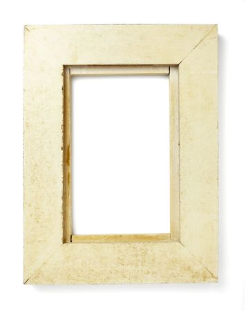 wooden frame for painting or picture on white background with clipping path photo