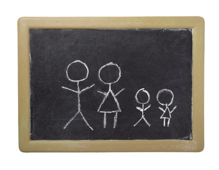 drawing of family on chalkboard on white background photo