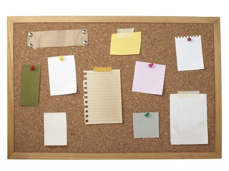 collection of various note papers  on cork board Stock Photo - 6423657