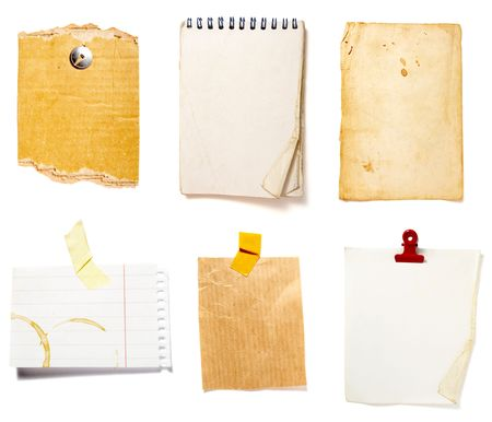 collection of old note paper  on white background. each one is in full cameras resolution Stock Photo - 6423669