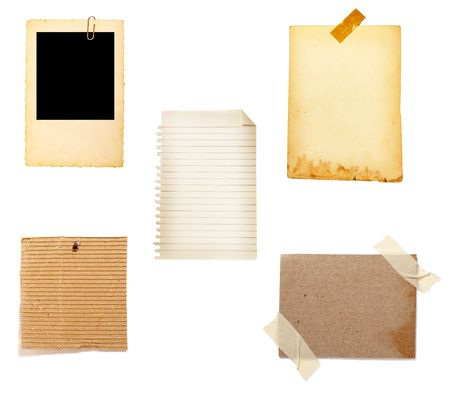 white polaroids: collection of old note paper  on white background. each one is in full cameras resolution