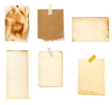 collection of old note paper  on white background. each one is in full cameras resolution Stock Photo - 6423674