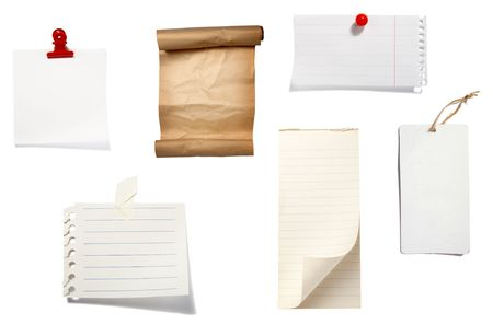 collection of old note paper  on white background. each one is in full cameras resolution Stock Photo - 6423662