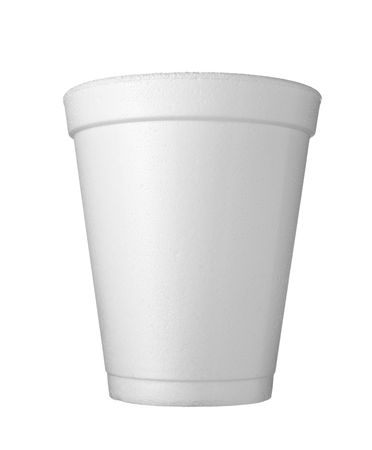 polystyrene: close up of Styrofoam coffee cup on white background