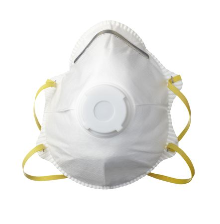 dust mask: close up of protective mask on white background