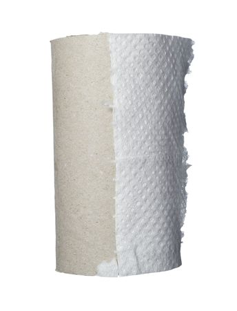 finished toilet paper on white background  photo