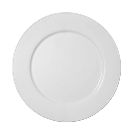 plate setting: close up of white ceramic plate on white background Stock Photo