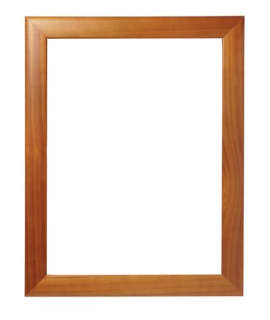 grungy wood: wooden frame for painting or picture on white background