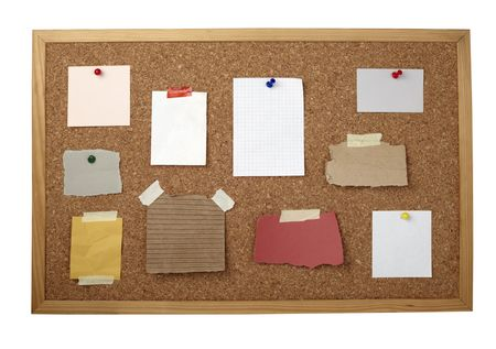 collection of various note papers  on cork board Stock Photo - 6486175