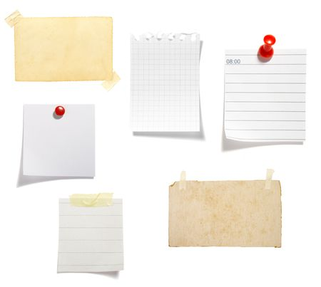 thumb tack: collection of old note paper  on white background. each one is in full cameras resolution