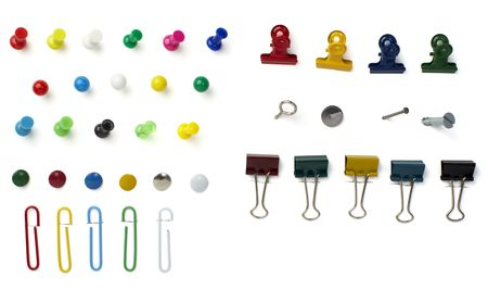 close up of various pushpins  on white background  Stock Photo