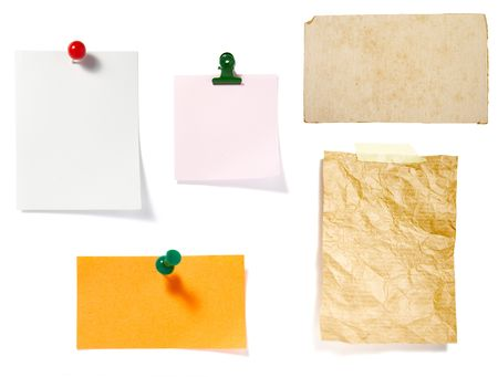 collection of old note paper  on white background. each one is in full cameras resolution photo